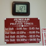 THEY HAVE 4 SHIFTS!!! Is that crazy or what?! It was very relaxed, not crowded, we found a parking spot and everything, but I felt like something was missing. There wasn't that 'everyone at jumah-the-event' feel, kind of felt like we were just going there to pray a regular prayer.