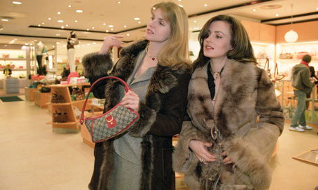 Wealthy Russians shopping in London.